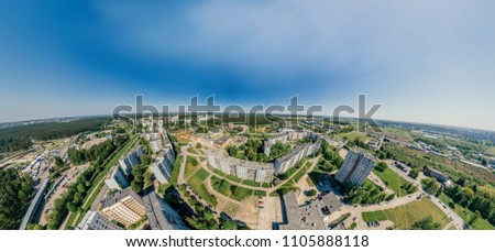 Summer Riga city Block of flats 360 VR Drone picture for Virtual reality, Street Panorama
