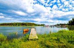 Summer river pier boats landscape