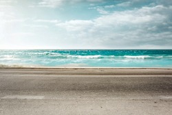 Summer road background of free space and sea landscape