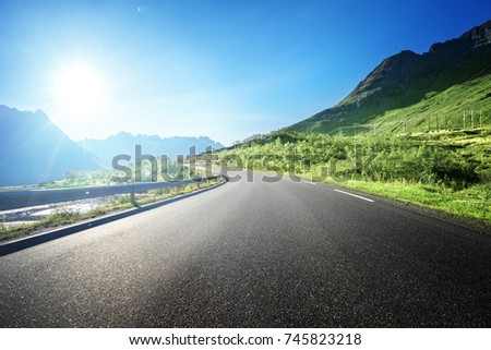 summer road in mountain, Lofoten islands, Norway #745823218