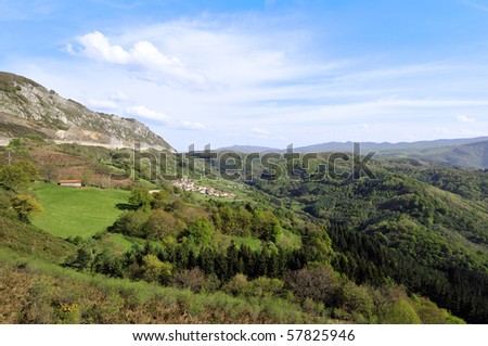 summer rural landscape of Guipuzcoa, Basque Country, Spain - stock photo