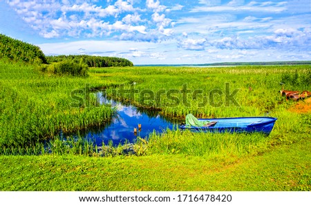 Summer rural river boat view