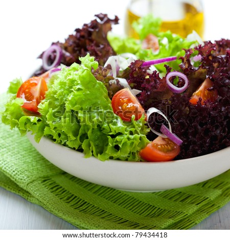 Summer salad with green and red lettuce
