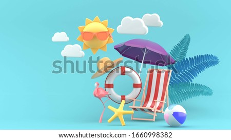 Summer sale banner with 3d beach elements on the blue background.-3d rendering.