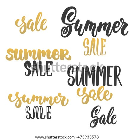 Summer sale - hand drawn golden lettering phrases set isolated on the white background. Advertising template for banner, shop and store poster design and season flyers