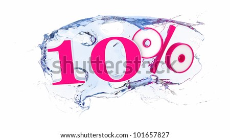 Summer sale or discount tags 10 percent water splash