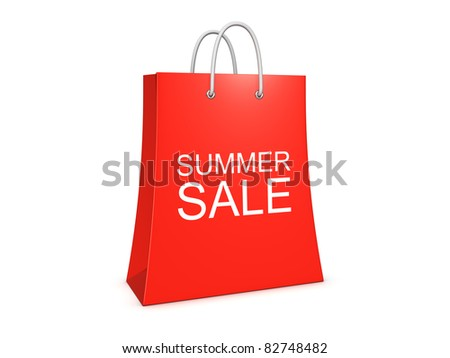 Summer sale shopping bag. Isolated on the white background