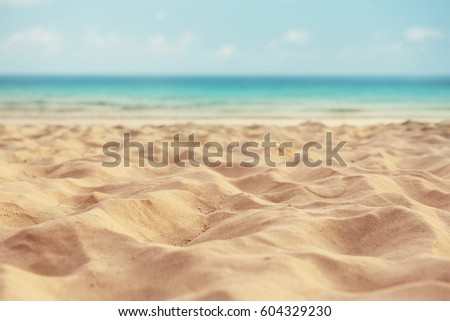 summer sand beach and sea background #604329230