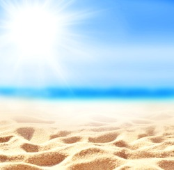 Summer sand beach background. Sea and sky. Summer concept