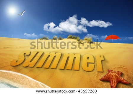 summer sand font on sea shore