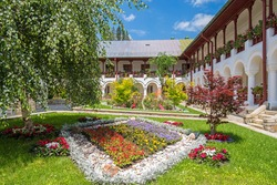 Summer scene at Agapia orthodox monastery in Romania, one of most important landmark in Moldavia
