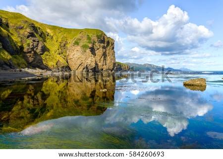 summer sea cliffs  sakhalin ...