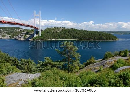 Summer sea fjord landscape with bridge
