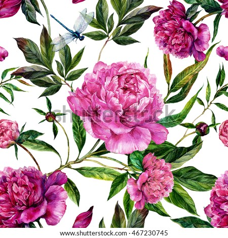 Summer seamless watercolor pattern. Hand drawn pink peonies, green leaves and dragonflies on white background. Realistic illustration in trendy vintage style. Shabby chic #467230745