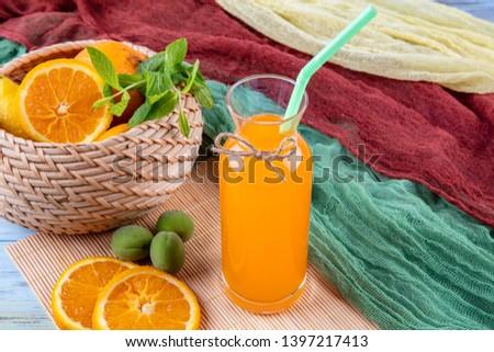 Summer season drink concept. Orange crush. Glass with orange juice. #1397217413