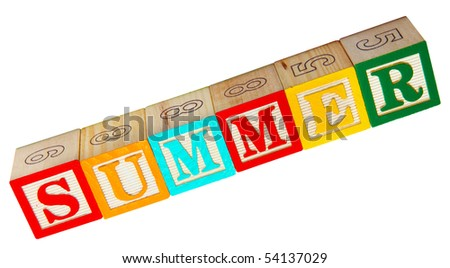 Summer spelled out in colorful wooded alphabet blocks