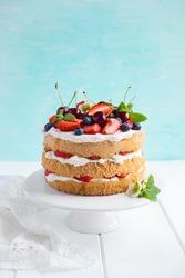 summer sponge cake with vanilla cream and fresh berries. Selective focus
