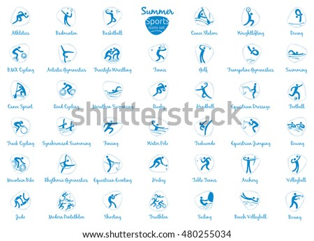 Summer sports icons set, isolated pictograms for web, print and other projects.