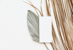 Summer stationery minimal mock-up. Blank card, palm leaves, beige textured table background. Wedding mock up. Flat lay, top view
