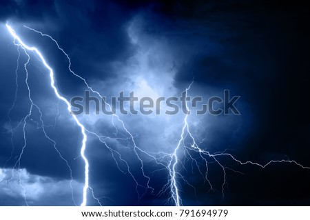 Summer storm bringing thunder, lightnings and rain. #791694979