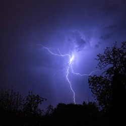 Summer stormy night with fantastic lighning show.