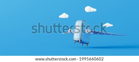 Summer suitcase with wings will take off. Creative minimal travel concept idea on blue background 3D Render 3D illustration Photo stock ©