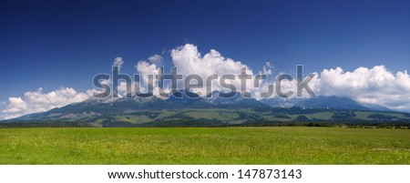 Summer sunny day in the mountains. Landscape view. Slovakia, High Tatras