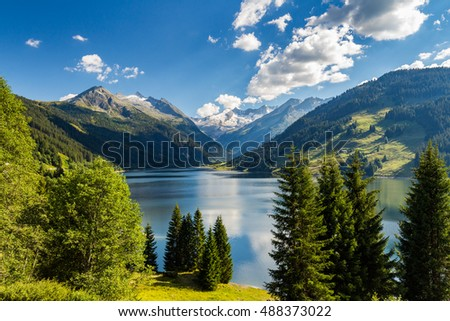 Summer sunny scene in the valley of Speicher Durlassboden lake in the Austrian Alps. View from Gerlos pass, Austria, Europe. #488373022