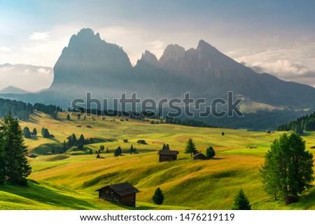 Summer sunrise in Italian Dolomiti Alps. Seiser Alm or Alpe di Siusi location, Bolzano province, South Tyrol, Italy, Europe Zdjęcia stock ©