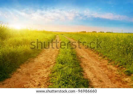 Summer sunrise over rural road.