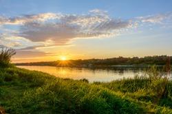 Summer sunset - river landscape. Oka River Russia