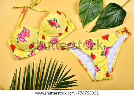 Summer swimsuit bikini fashion, Colorful beach clothes.