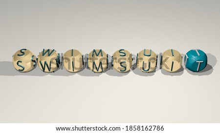 summer: SWIMSUIT text of cubic individual letters, 3D illustration