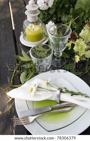 Summer table setting in country house look