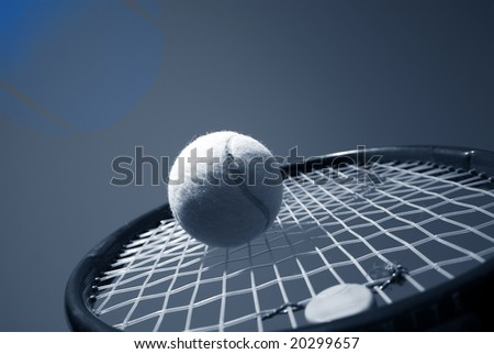 Summer tennis. Tennis Competition - Tennis racket and tennis ball sky blue