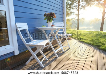 summer terrace, table and chairs #568745728