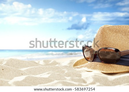 Summer time and background of sea and sand  #583697254