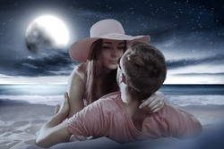 Summer time and two lovers on beach at night