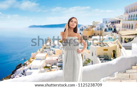 Summer time and woman in Greece  #1125238709