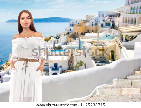 Summer time and woman in Greece  #1125238715