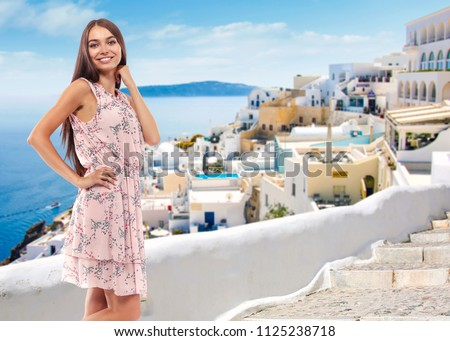 Summer time and woman in Greece  #1125238718