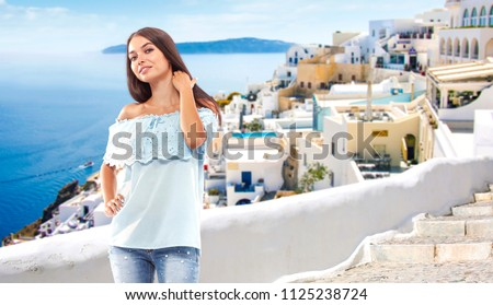 Summer time and woman in Greece  #1125238724