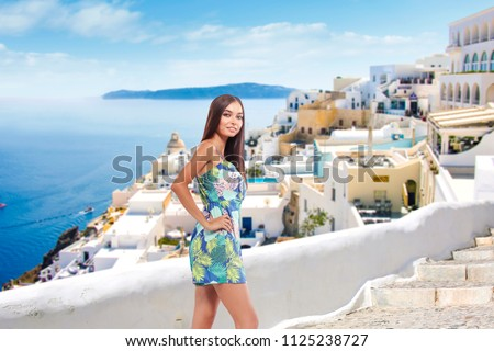 Summer time and woman in Greece  #1125238727