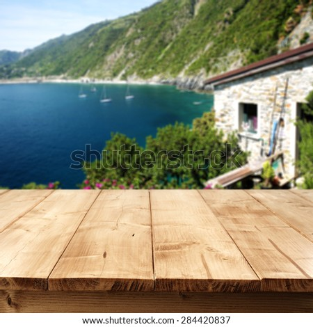 summer time background with table and cliffs