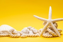 Summer time concept with starfish, shell, stones and rope on a plain yellow background