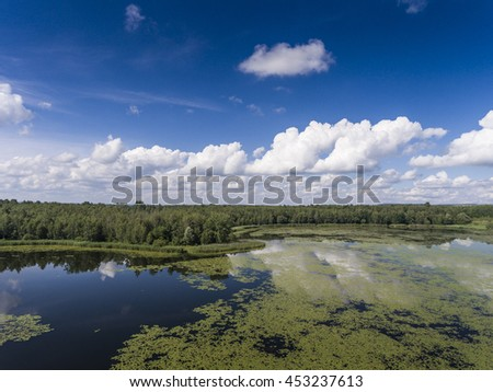 Stock Photo Summer time lake and green forest,  white clouds over blue sky in Poland lanscape.