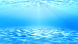 summer time under sea ocean in clean and clear water with ray of sunlight from surface for background concept design