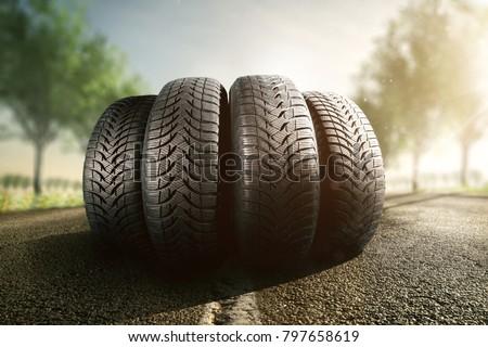 Summer tires on a street - Shutterstock ID 797658619