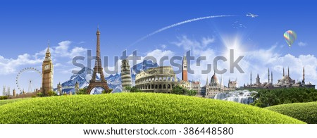 Summer travel across Europe - sunny landscape background with famous landmarks and grassy hill over clear blue sky - great for posters, cards or banners (all composition elements shot by myself) #386448580