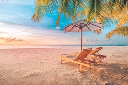 Summer travel destination. Design of summer vacation holiday concept. Perfect tranquil beach scene, soft sunlight and white sand and blue endless sea as tropical landscape. Inspirational beach view
